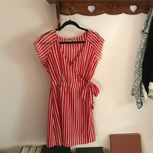 Red and Cream Small Striped F21 Dress